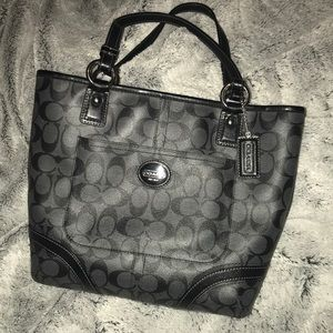 Coach leather tote bag authentic gray black